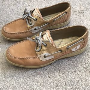 Sperry Cork & Gold Boat Shoe. Size 8